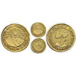 Guatemala (Central American Republic), gold 1 escudo, 1824M, rare, NGC AU 55.