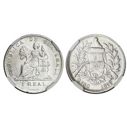Guatemala, 1 real, 1899, 0.750 fineness, NGC AU 53.