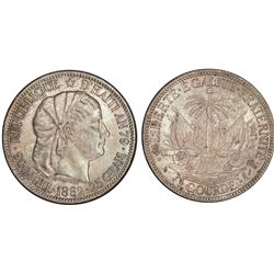Haiti (struck at the Paris mint), 1 gourde, 1882, PCGS MS63.