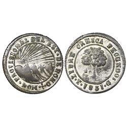 Tegucigalpa, Honduras, provisional (low-silver) 4 reales, 1851G, NGC VF 35, ex-O'Brien.