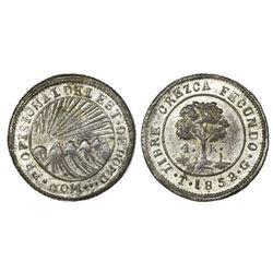 Tegucigalpa, Honduras, provisional (low-silver) 4 reales, 1852G, NGC AU 58, ex-O'Brien.