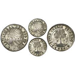 Tegucigalpa, Honduras, provisional (low-silver) 2 reales, 1844G, CREZCA variety, NGC XF 40, ex-O'Bri