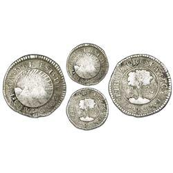 Tegucigalpa, Honduras, provisional (low-silver) 1/2 real, 1833F, NGC VF 20, ex-O'Brien.