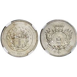 Honduras (struck at the Philadelphia mint), proof pattern 50 centavos struck in silver, 1871, plain