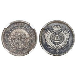 Honduras (struck at the Philadelphia mint), proof pattern 10 centavos struck in silver, 1871, plain