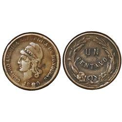 Honduras, bronze 1 centavo, 1880, NGC VF 30 Brown, ex-Whittier.