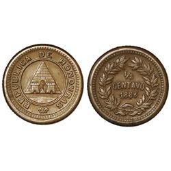 Honduras, copper 1/2 centavo, 1886, coin alignment, NGC MS 61 BN.