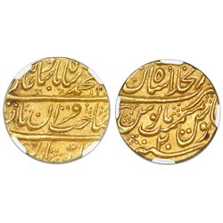 India (Mughal Empire), gold mohur, (1738), NGC MS 65, finest known in NGC census.