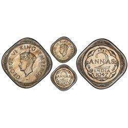 Calcutta, India (British), copper-nickel original proof 2 annas, George VI, 1947, very rare, PCGS PR