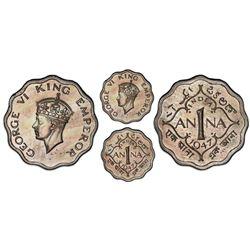 Calcutta, India (British), copper-nickel original proof 1 anna, George VI, 1947, short trefoils in c