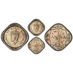 Calcutta, India (British), copper-nickel original proof 1/2 anna, George VI, 1947, very rare, PCGS P