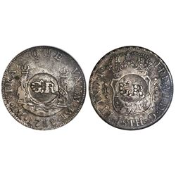 "Jamaica (British administration), 1 shilling 8 pence, ""GR"" double countermark (1758) on a Lima, Peru"