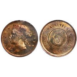 Mauritius (struck at the Heaton Mint, Birmingham, England), bronze 5 cents specimen, Victoria, 1877-