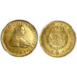Mexico City, Mexico, gold bust 8 escudos, Ferdinand VI, 1748MF, NGC AU 55.