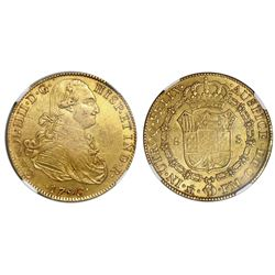 Mexico City, Mexico, gold bust 8 escudos, Charles IV, 1793FM, NGC AU 53, ex-Huntington (stated on la