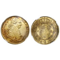 Mexico City, Mexico, gold bust 8 escudos, Charles IV, 1800FM, NGC AU 55, ex-Huntington (stated on la