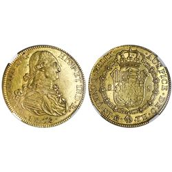 Mexico City, Mexico, gold bust 8 escudos, Charles IV, 1808TH, NGC AU 55.
