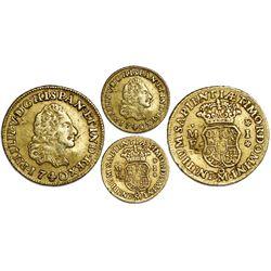 Mexico City, Mexico, gold bust 1 escudo, Philip V, 1740MF, rare.