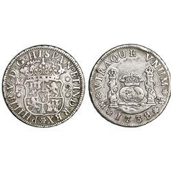 Mexico City, Mexico, pillar 2 reales, Philip V, 1738/7MF.