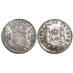 Mexico City, Mexico, pillar 1 real, Philip V, 1740MF, rosettes bracketing denomination.