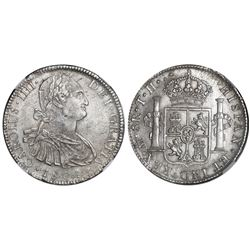 Mexico City, Mexico, bust 8 reales, Charles IV, 1804TH, NGC MS 62.