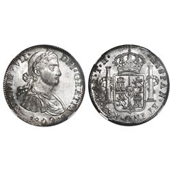"Mexico City, Mexico, bust 8 reales, Ferdinand VII transitional (""armored"" bust), 1809TH, NGC MS 61."