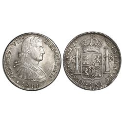 "Mexico City, Mexico, bust 8 reales, Ferdinand VII transitional (""armored"" bust), 1811HJ."