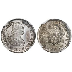 Mexico City, Mexico, bust 1/2 real, Charles IV, 1797FM, straight-leg 9 in date, rare, NGC MS 62.