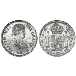 Zacatecas, Mexico, bust 8 reales, Ferdinand VII, 1820AG, NGC MS 61.