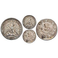 San Luis Potosi, Mexico, 5 centavos, 1869S, value in wreath, NGC XF 45.
