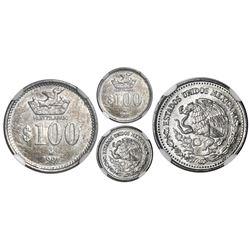 Mexico City, Mexico, aluminum pattern 100 pesos, 1991, Huitzilapan, rare, NGC MS 61.