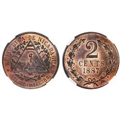 Nicaragua, copper pattern 2 centavos, 1887-E, NGC PF 65 RB.