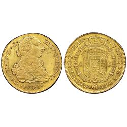 Lima, Peru, gold bust 8 escudos, Charles IV transitional (bust of Charles III, ordinal IV), 1791IJ,