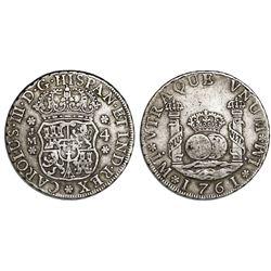 Lima, Peru, pillar 4 reales, Charles III, 1761JM.