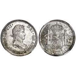 Lima, Peru, bust 2 reales, Ferdinand VII, 1819JP, NGC AU 55.