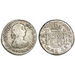 "Lima, Peru, bust 1/2 real, Ferdinand VII transitional (""imaginary"" bust), 1808JP, rare."