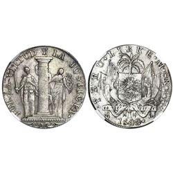 "Lima, Peru, provisional 8 reales, 1822JP, ""Peru Libre,"" NGC VF 35."