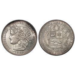Lima, Peru, 5 pesetas, 1880BF, B without dot below wreath, PCGS MS63.