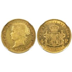 Philippines (under Spain), gold 4 pesos, Isabel II, 1868, NGC AU 55.