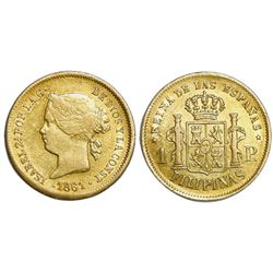 Philippines (under Spain), gold 1 peso, Isabel II, 1861.