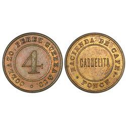 Ponce (Maraguez), Puerto Rico, copper 4 almudes token, no date (late 1800s), Hacienda de Cafe Carmel