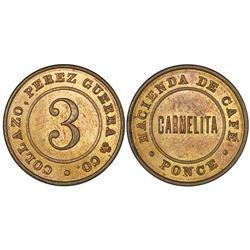Ponce (Maraguez), Puerto Rico, copper 3 almudes token, no date (late 1800s), Hacienda de Cafe Carmel