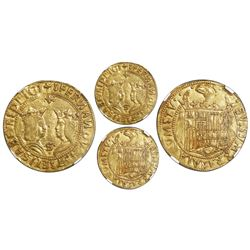 Seville, Spain, gold double excelente, Ferdinand-Isabel, S and three dots at bottom, cross and four