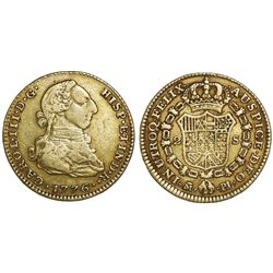 Madrid, Spain, gold bust 2 escudos, Charles III, 1776/4PJ.