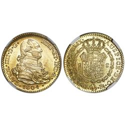 Madrid, Spain, gold bust 2 escudos, Charles IV, 1804FA, NGC MS 63.