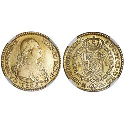Madrid, Spain, gold bust 2 escudos, Charles IV, 1805FA, NGC XF 45.