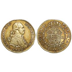 Madrid, Spain, gold bust 1 escudo, Charles IV, 1792MF.