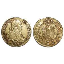 Madrid, Spain, gold bust 1 escudo, Charles IV, 1794MF.