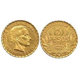 Uruguay, gold 5 pesos essai, 1930, Artigas, NGC MS 61.
