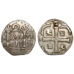 "Caracas, Venezuela, ""imitation cob"" 2 reales, date ""471"" (early 1800s), quadrants of cross transpose"
